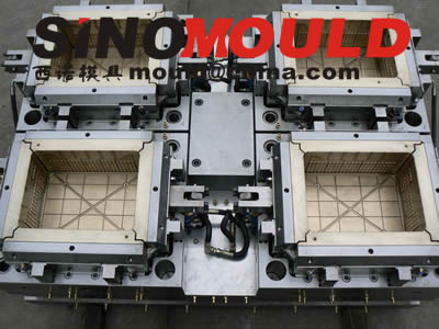 4 cavities crate mould with crate size 600x400x300mm