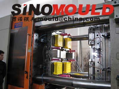 crate mould 4 cavities mould testing picture 1